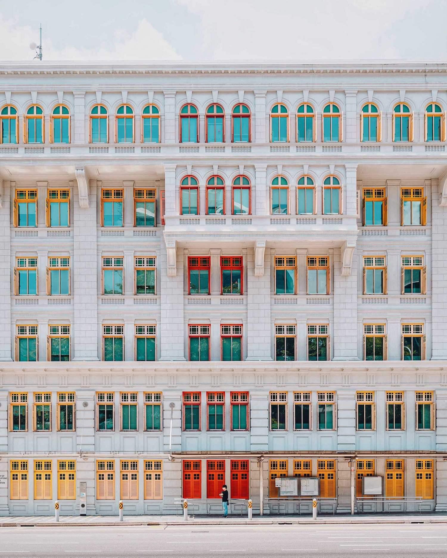 colourful facade, singapore, balconies