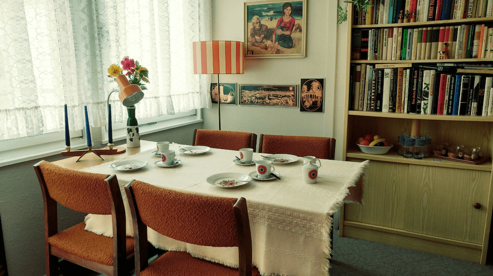 Dining room of an authentic apartment of the DDR for rent for your next shooting in Berlin, Germany. Original and unique interior design and historical style