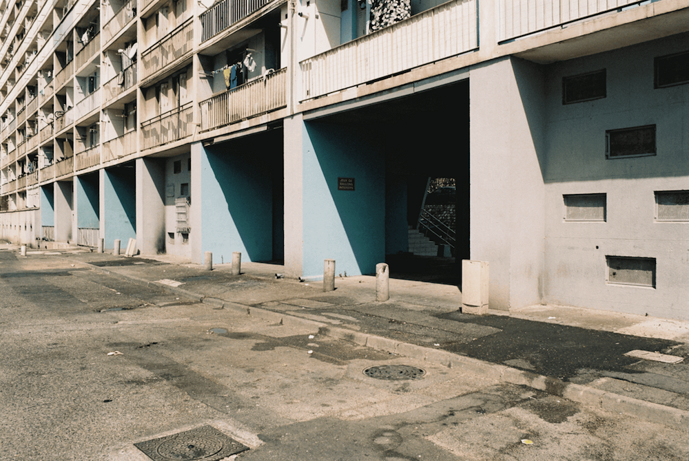 An apartment complex photographed with an analogue camera.