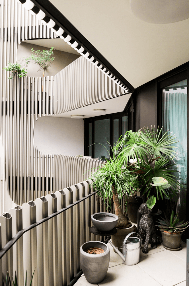 Balcony of a modern design apartment in architect building, available to rent as a film location in Berlin, Germany.