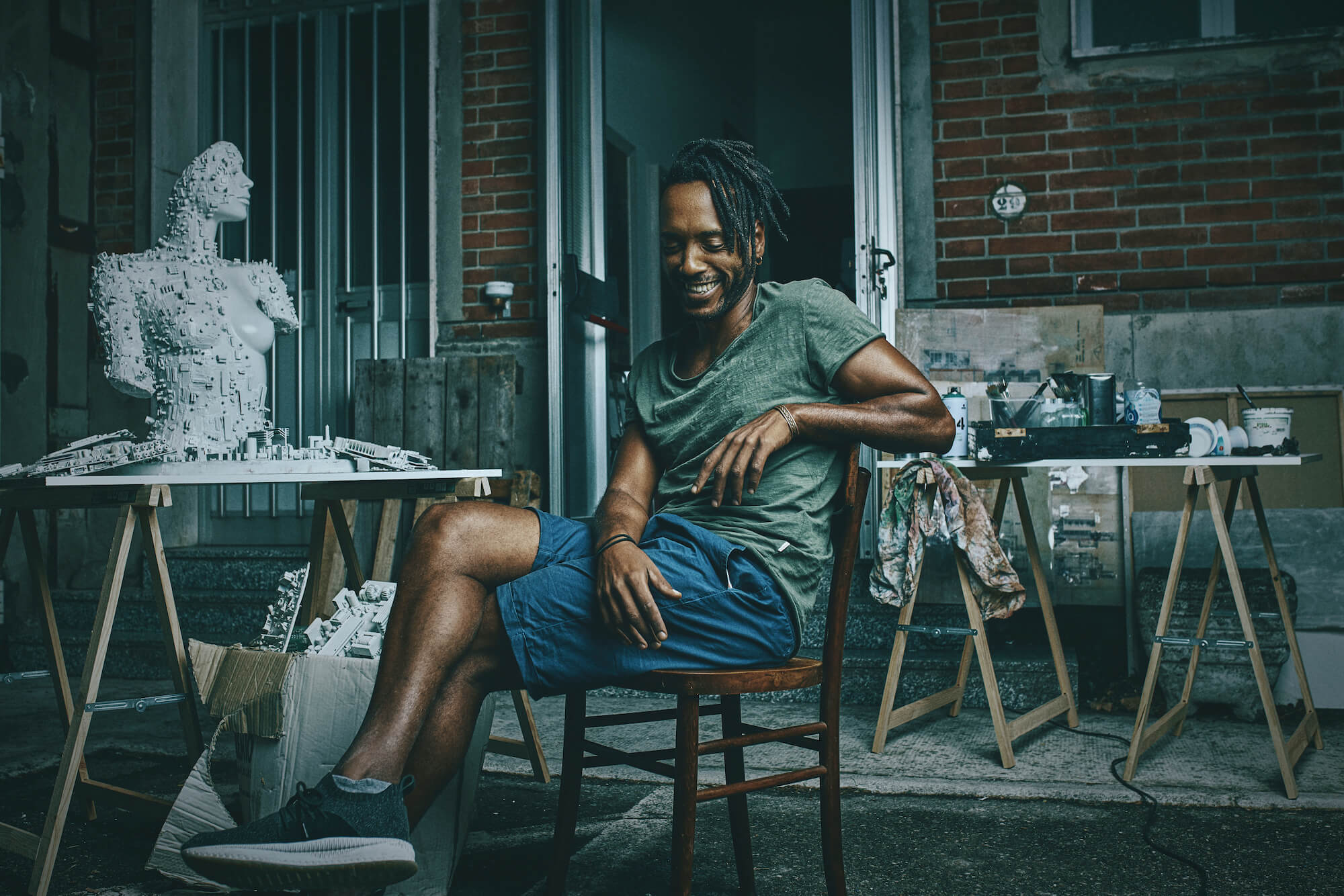 Portrait Series of Daniel Cati, black man in artist atelier