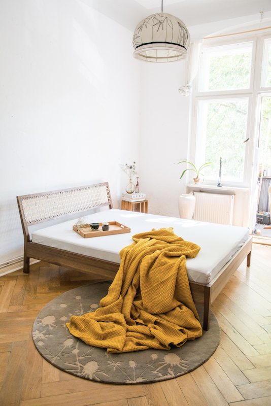 Bedroom of a scandinavian apartment available for rent for your next shooting in Berlin, Germany. Original and unique interior design and style, very bright for photoshoot