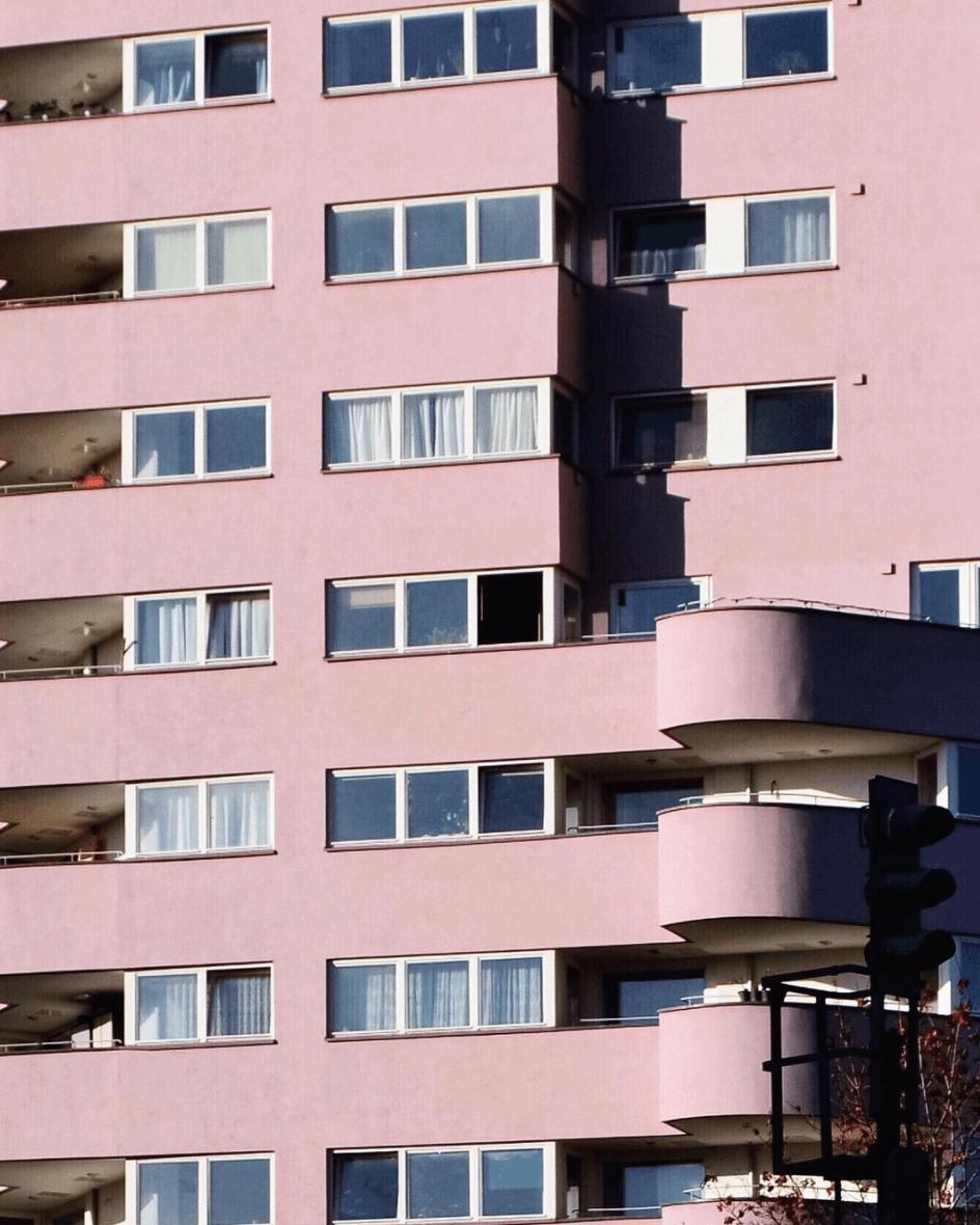 Pink facade, exterior architecture