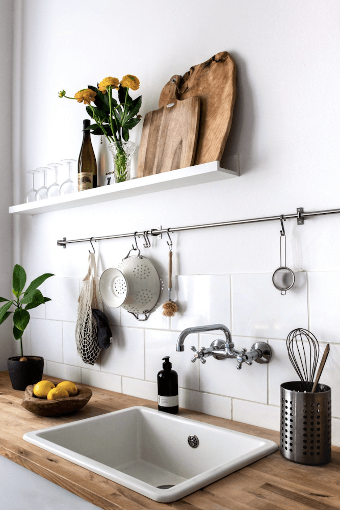 Kitchen of a bright scandinavian flat available for film productions in Berlin Germany