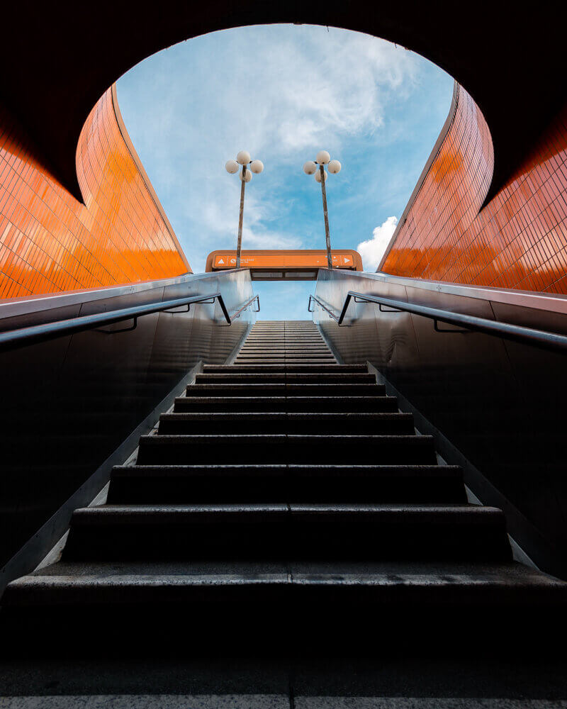 ICC Berlin, aesthetic stairs, train station, symmetry