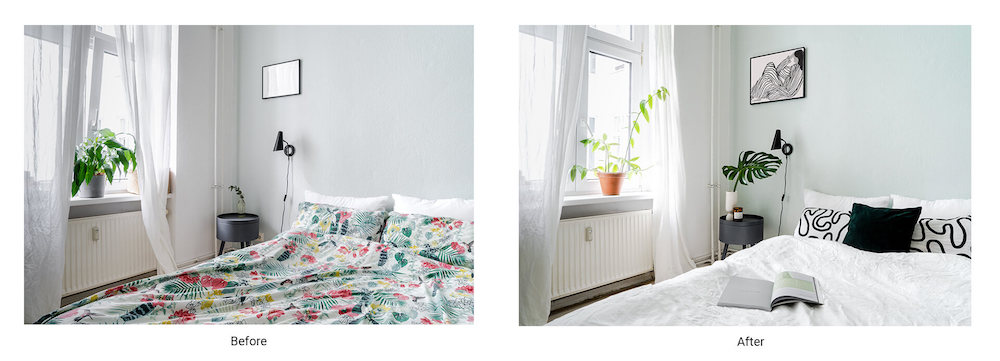 Before and after of a styled room for a photoshoot, by a set designer.
