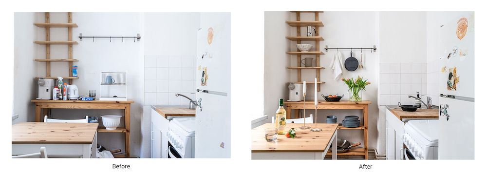 The before and after of a styled kitchen for a photoshoot, by a set designer.