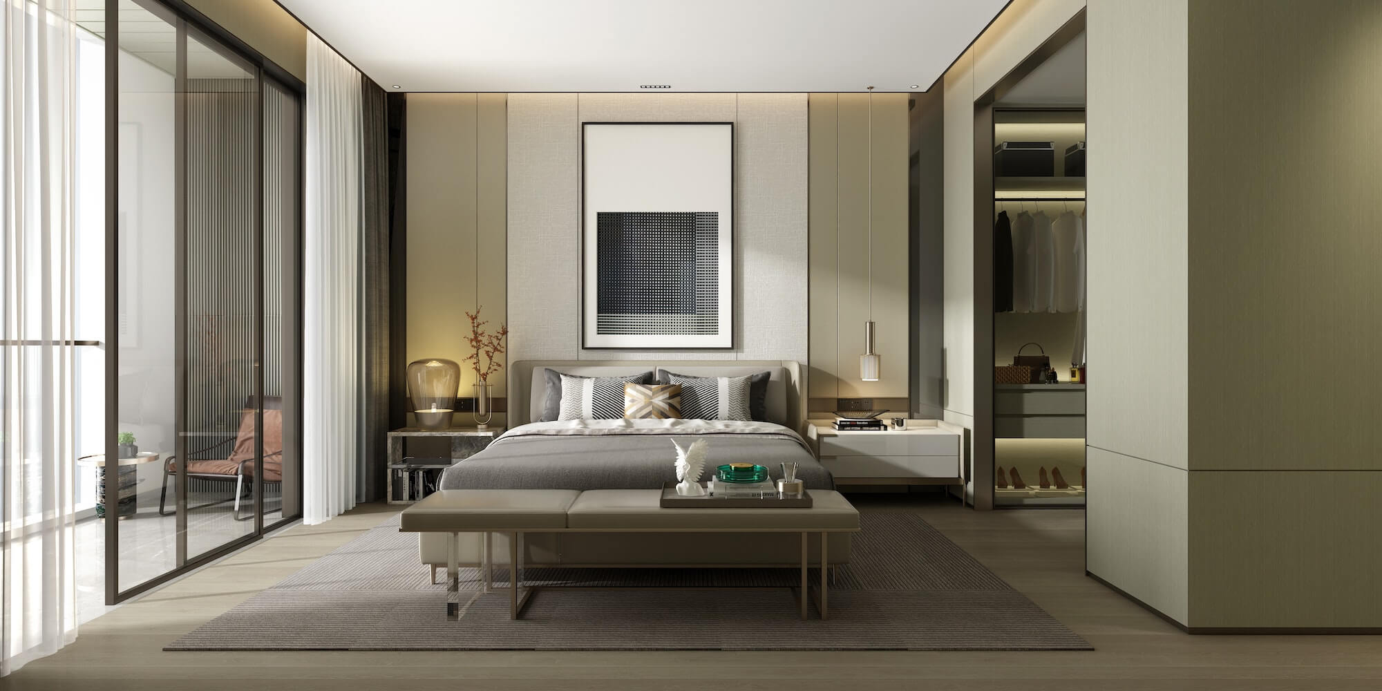 Real estate Photography of a large modern bedroom