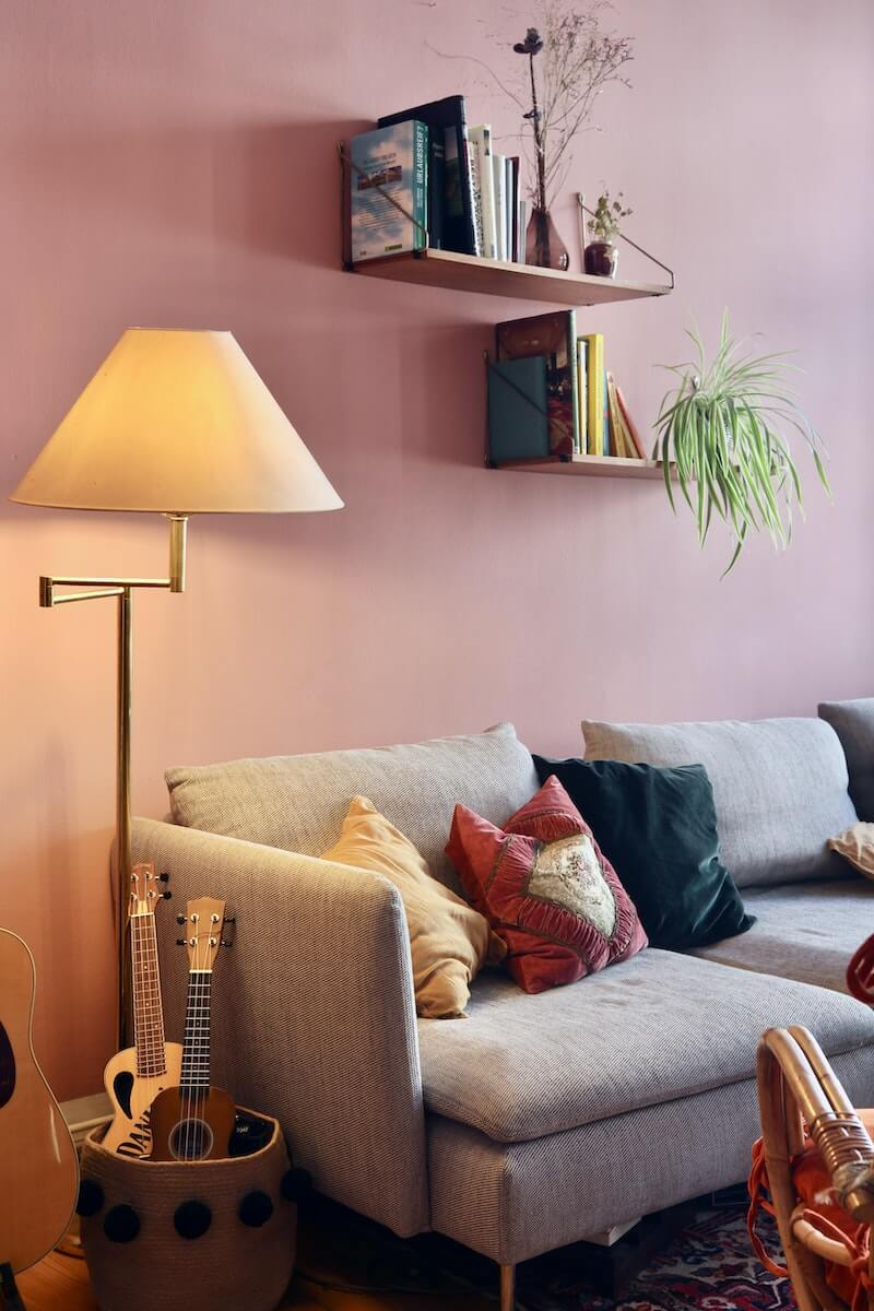 Rent a cosy home for your next shoot or video production with guitars and pink walls