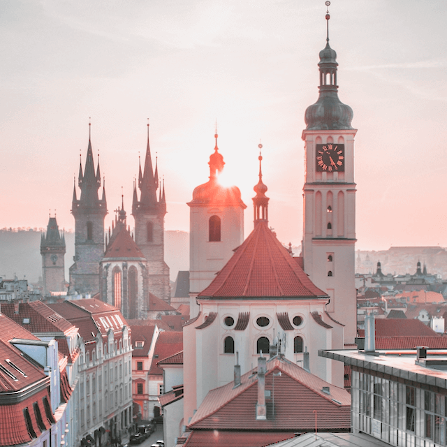 Photo of Prague during sunset. Beazy offers photos and video services all over Europe.