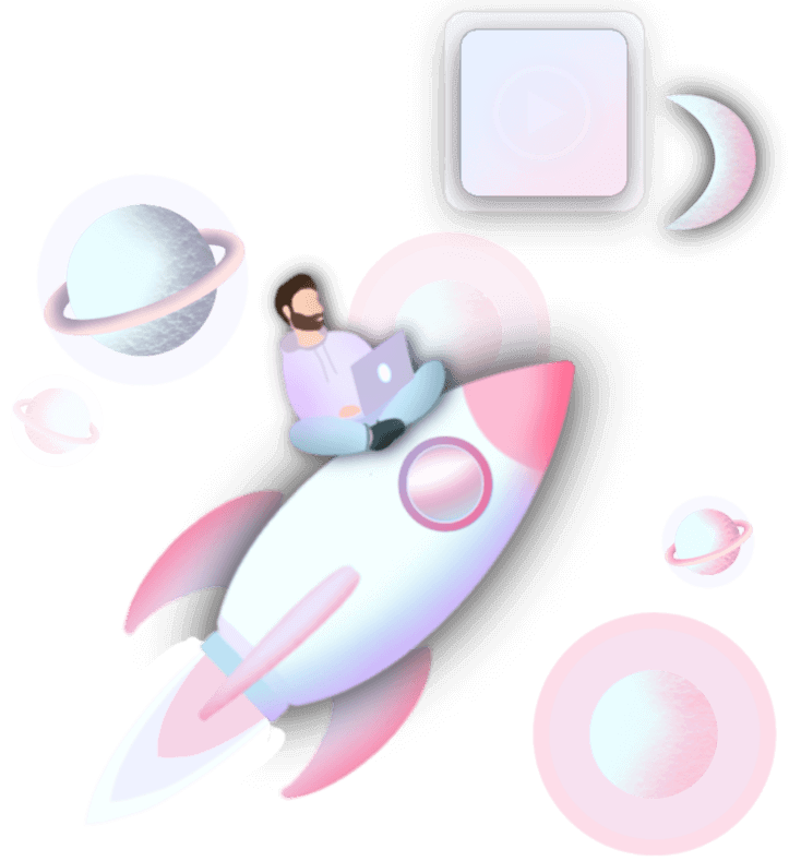 Illustration representing business growth, man on a rocket with computer Exclusive illustration and artwork by Beazy