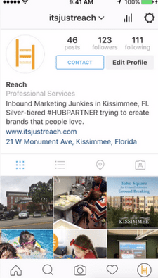 Instagram Screen Shot - Reach