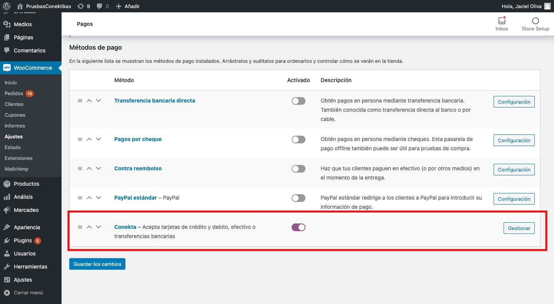 Vista de la configuración Conekta unificada - compatible con el webhook: https://tusitio.com/wc-api/WC_Conekta_Payment_Gateway