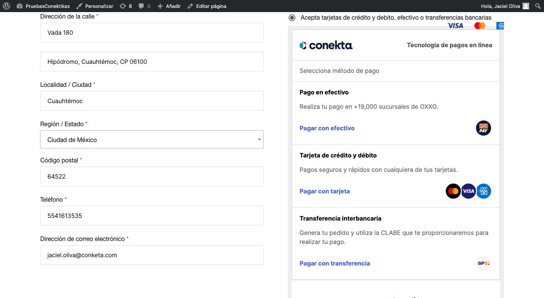 Las versiones recientes del plugin, además utilizan el checkout Conekta - compatible con el webhook: https://tusitio.com/wc-api/WC_Conekta_Payment_Gateway