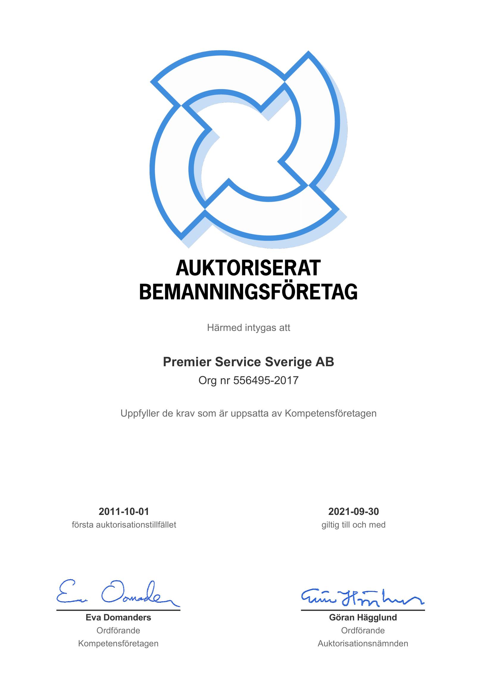 Premiers auktoriserat bemanningsföretag certifikat