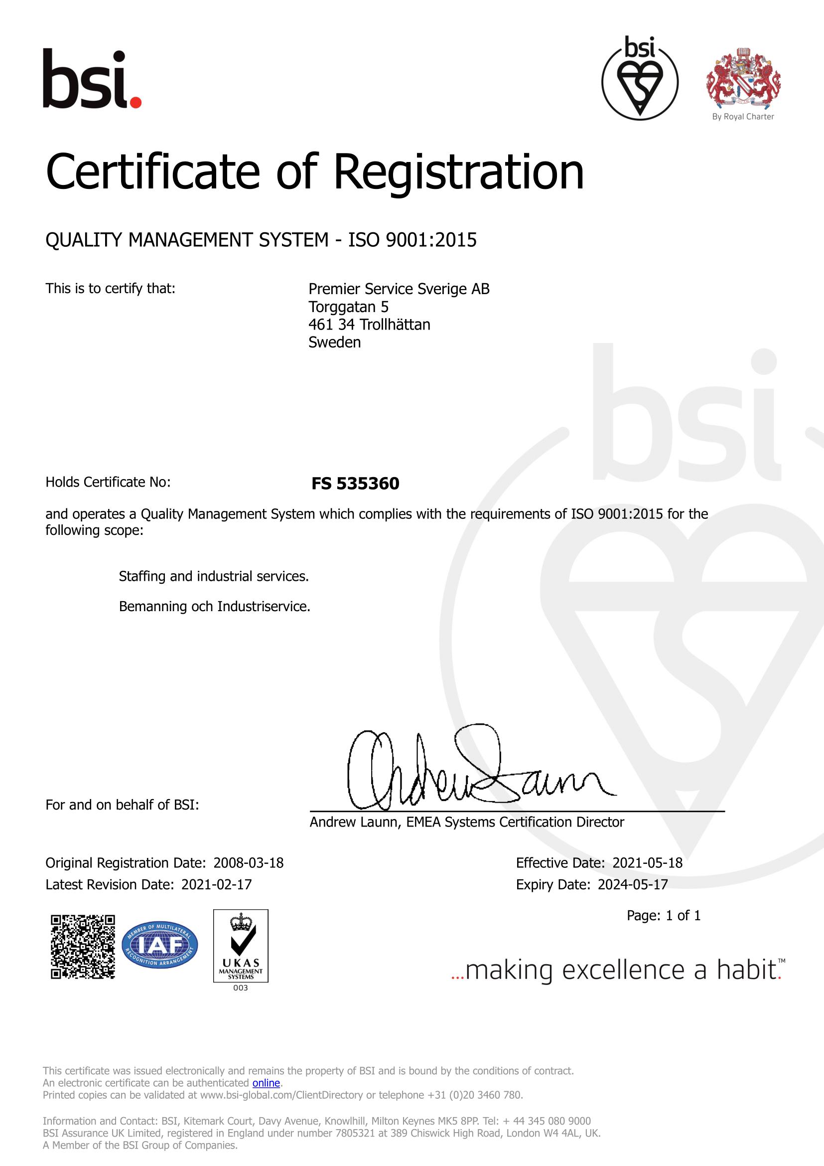 Premiers ISO 9001 certifikat
