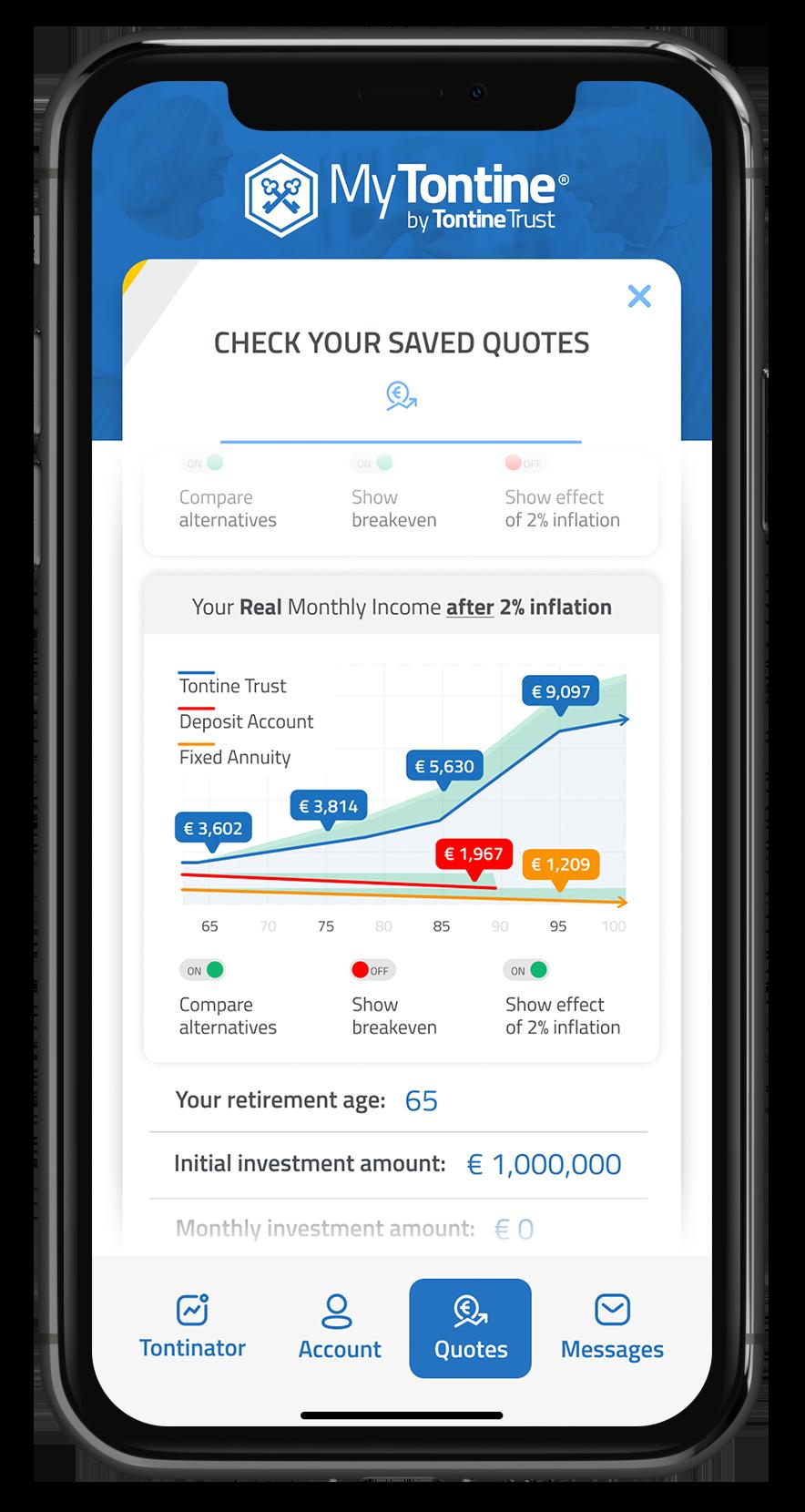 MyTontine app retirement calculator