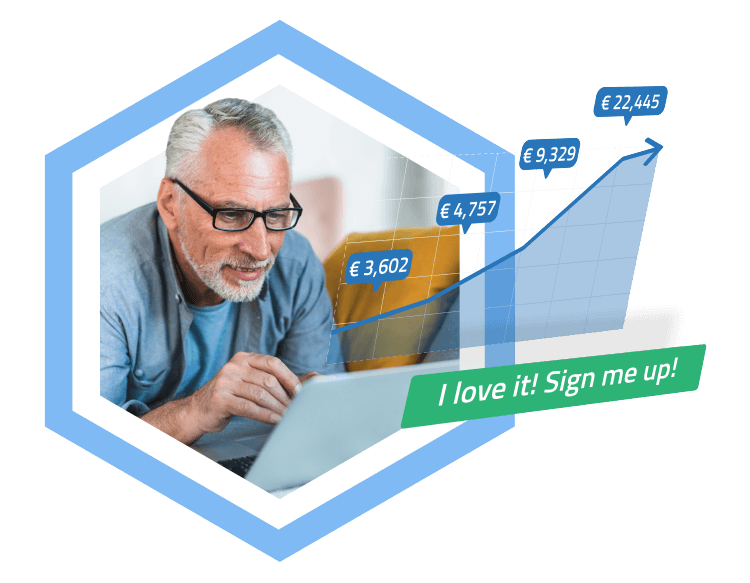 old man signing up for Mytontine