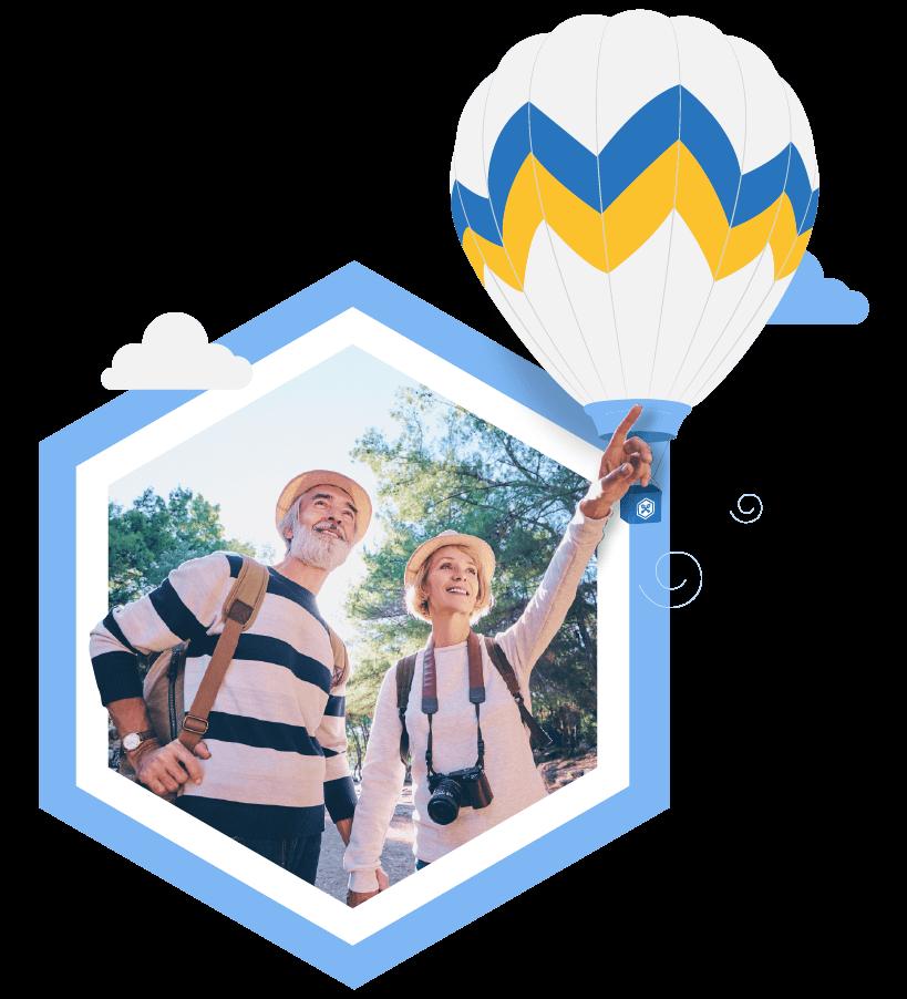 hexagon hot air balloon