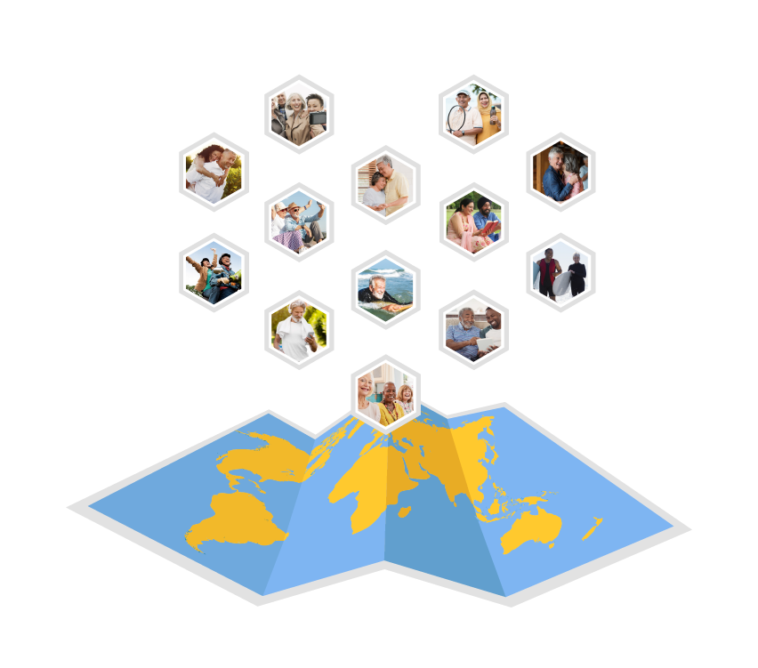 world map with people on it