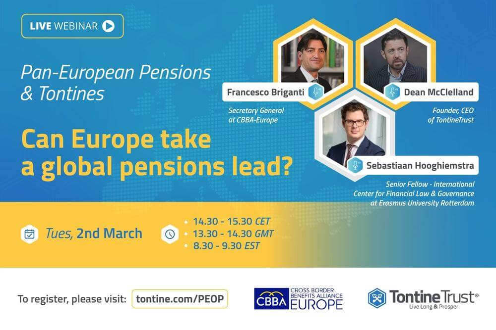 the first pan-European low-cost pension providers. We are pioneering the first modern pure 'tontine' pension which adheres to the model now recommended by the OECD.