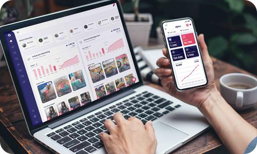 alphin Marketing Plattform in Desktop- und Smartphone-App.