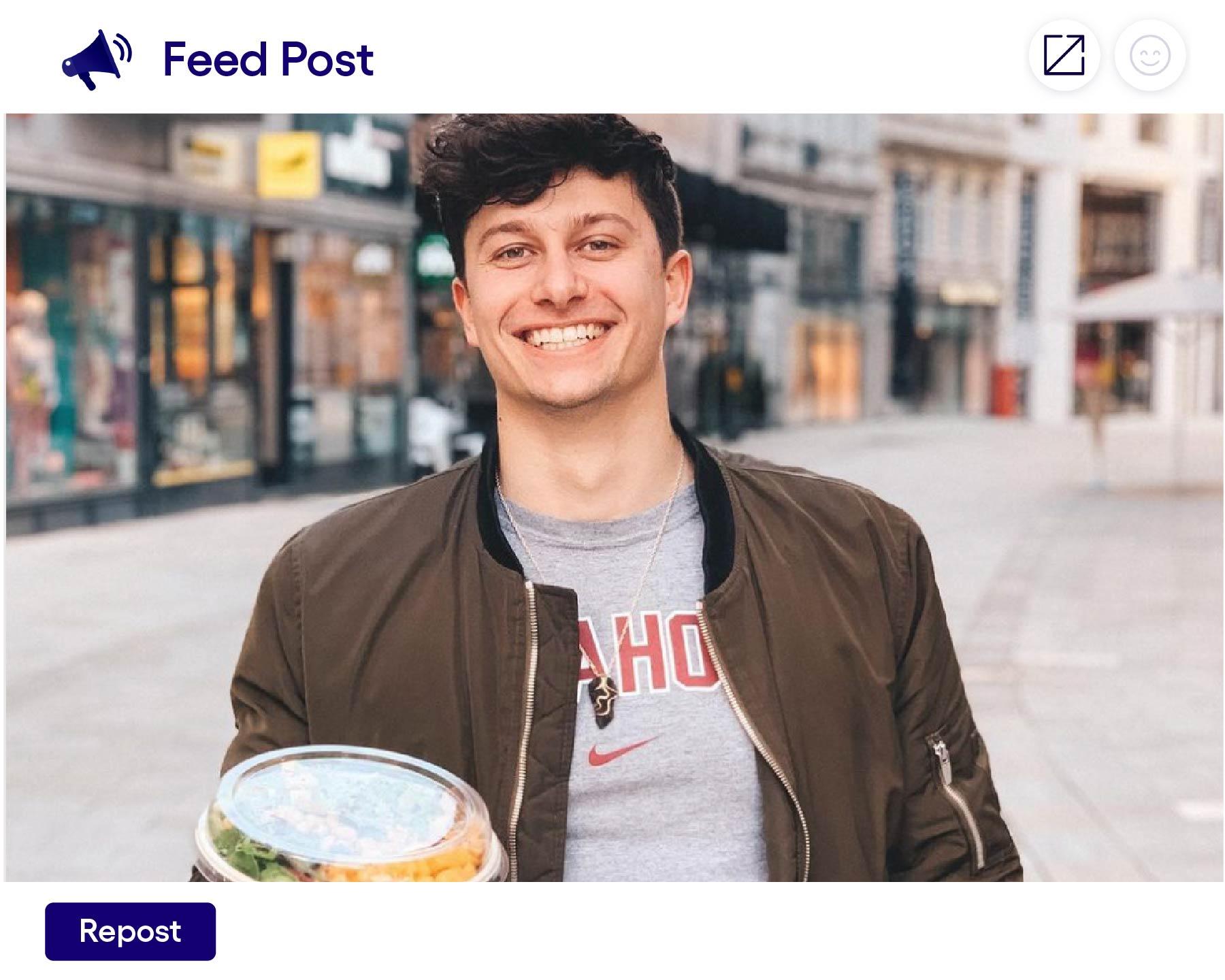 Influencer Posting. Influencer macht Marketing für ein lokales Business.