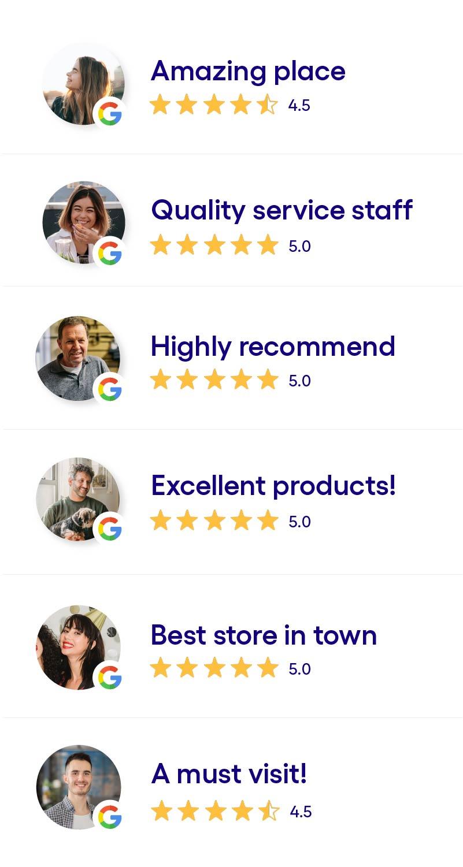 Viele 4- und 5-Sterne-Bewertungen auf Google.