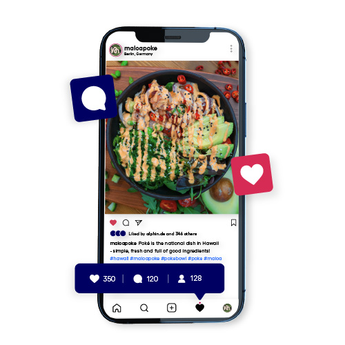 Professionelles Instagram Foto mit Likes und Kommentaren.