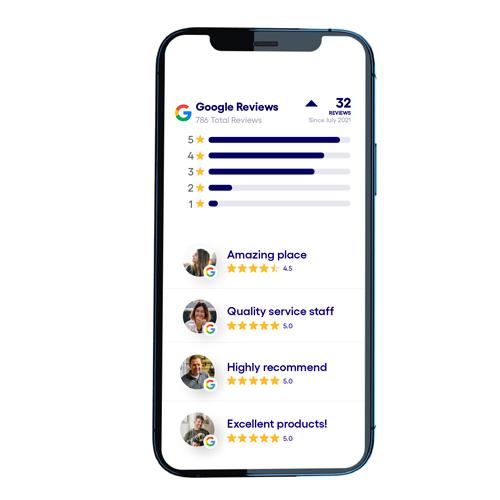Übersicht Online-Kunden-Bewertungen und Sterne in der App.