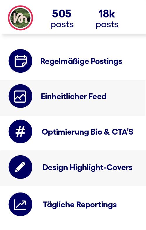 Follower, Reichweite, Post Ansichten, Profil-Aufrufe - wichtige Kennzahlen in der App.