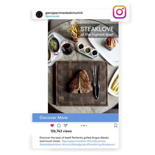 Instagram Werbeanzeige mit vielen Likes und Ansichten.