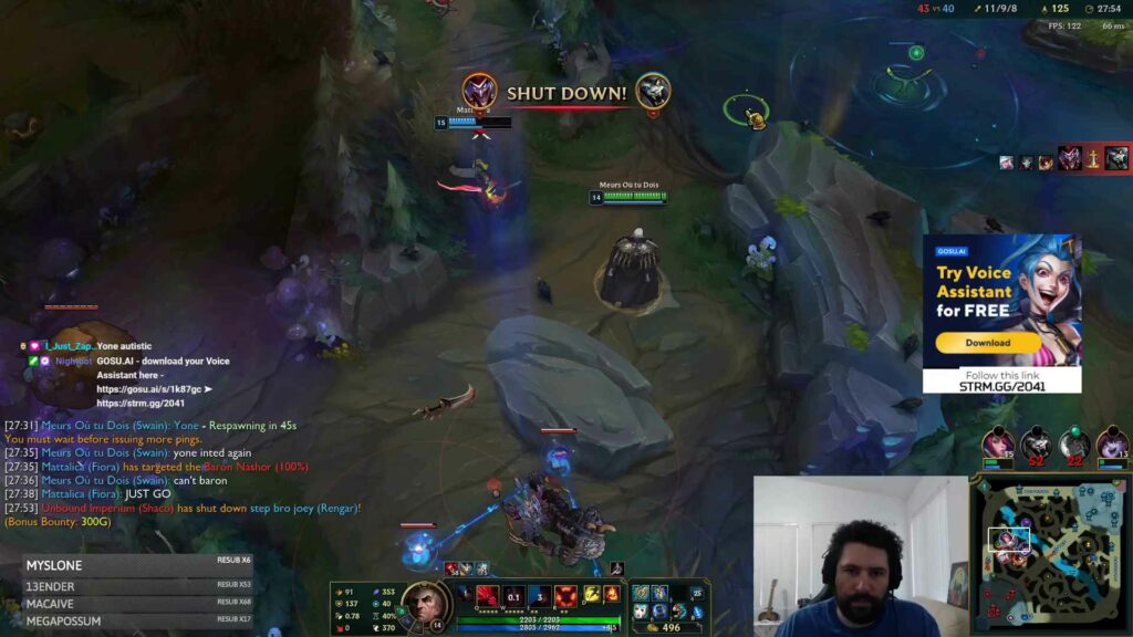 Overlay ad banner positioned on the right during a gaming live stream on StreamHERO