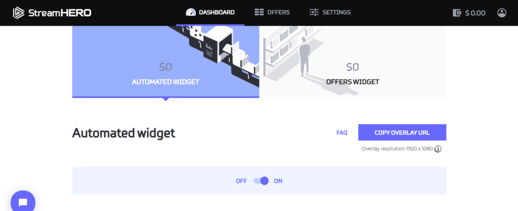 Automated widget for CPM ads at StreamHERO