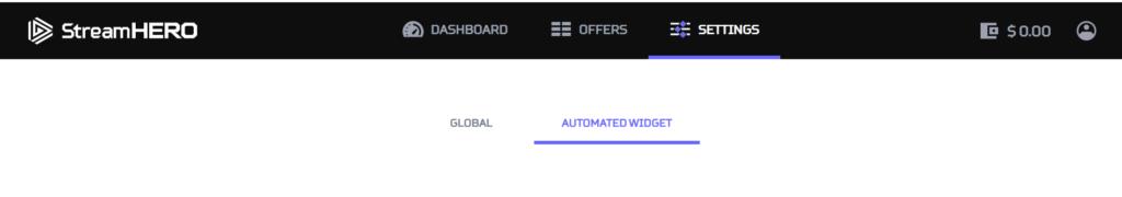 Automated widget settings at StreamHERO