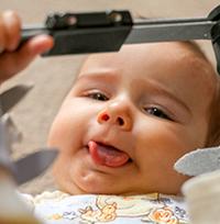 happy tongue tied baby