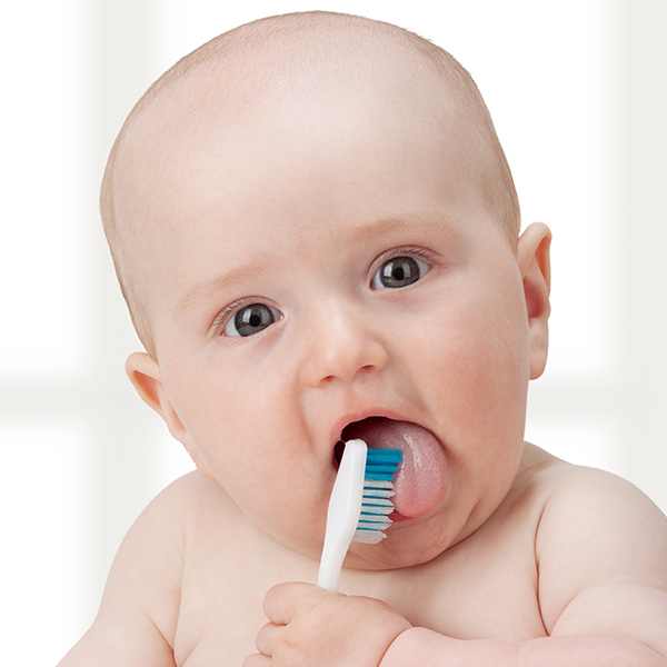 baby holding tooth brush