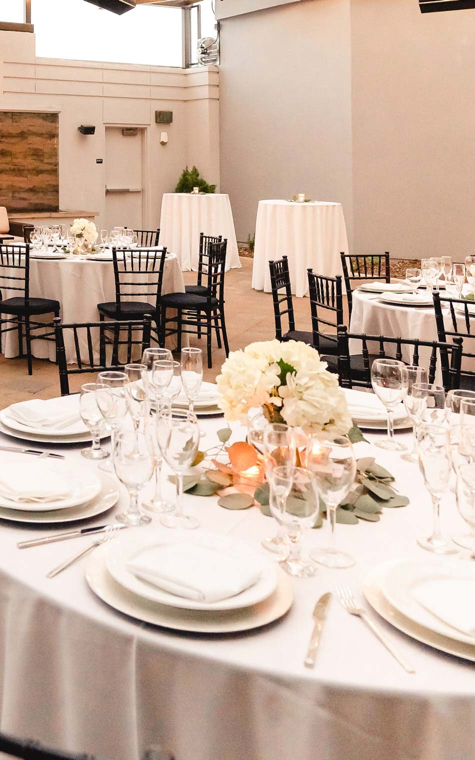 The atrium center table with plates