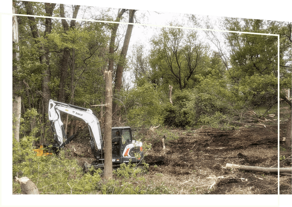 Bobcat E85 Excavator with TMK Tree Shear attachment removing overgrown vegetation & leaves on a commercial job site