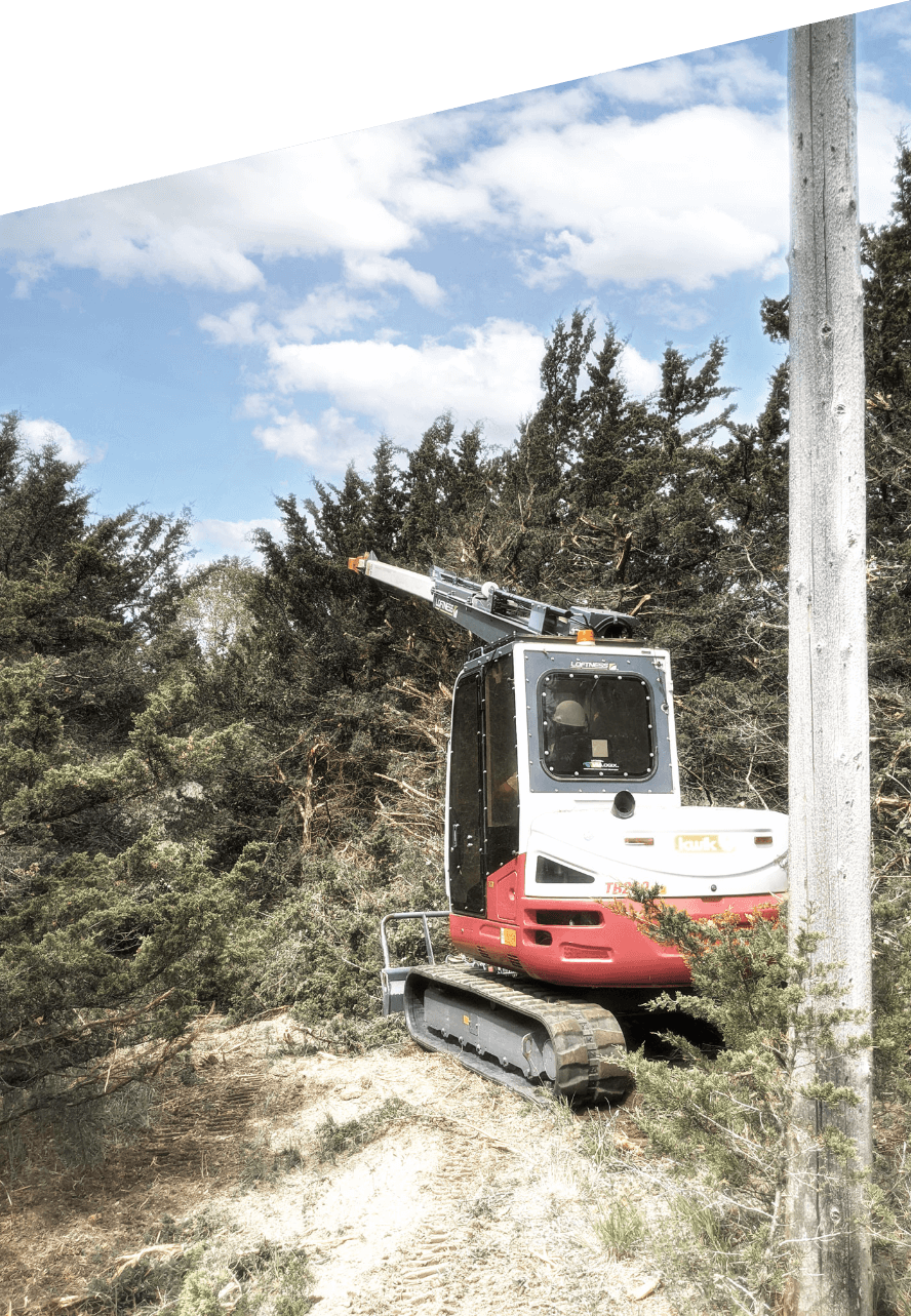 Kwik trimmer working on a commercial jobsite to trim trees near power lines to provide ROW maintenance & clearance