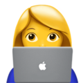 Emoji de Mulher trabalhando em um notebook