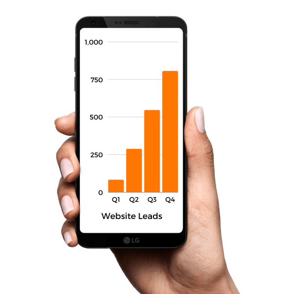 Hand holding phone displaying chart of website leads