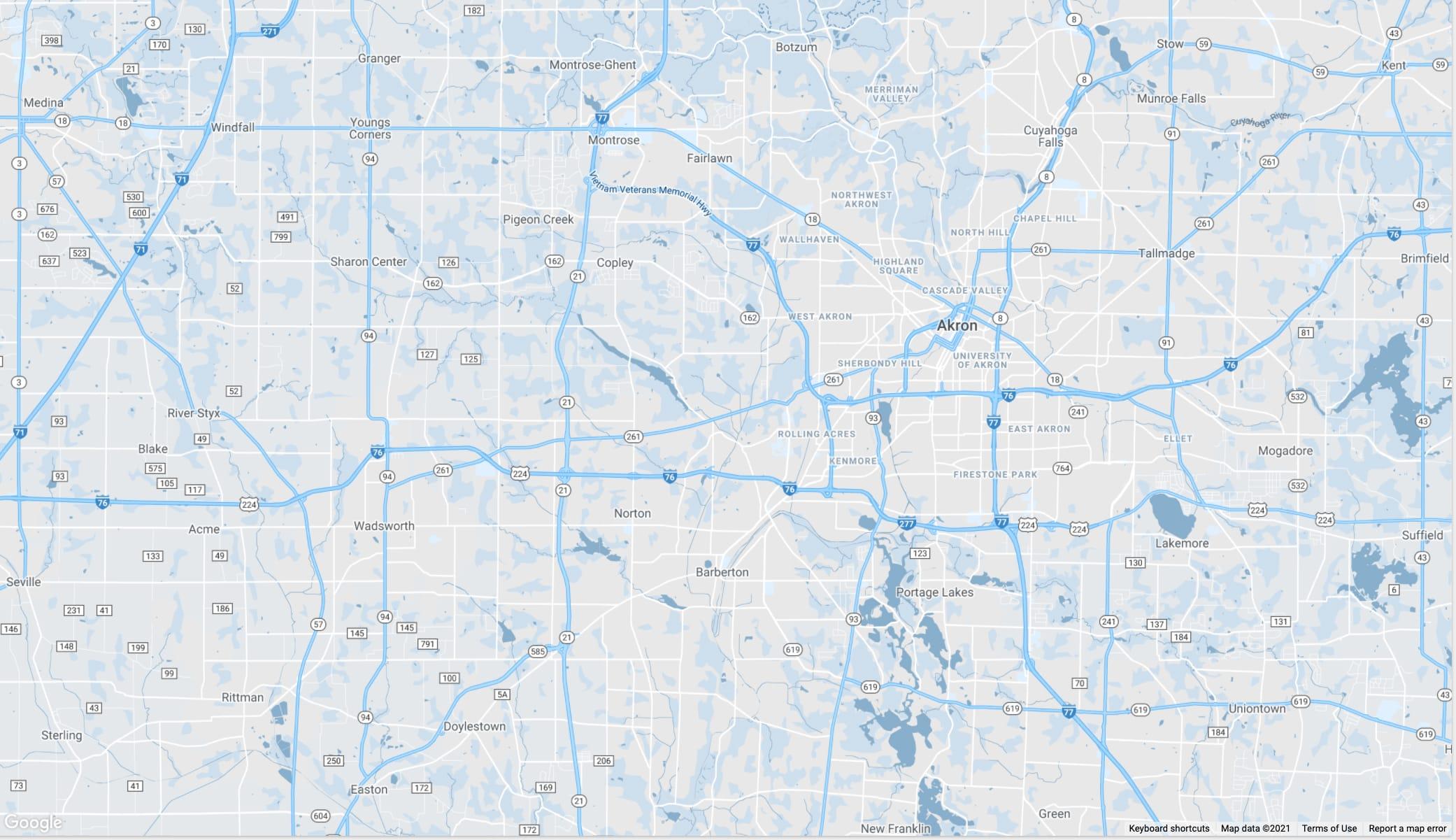 Wadsworth and Akron, Ohio area map