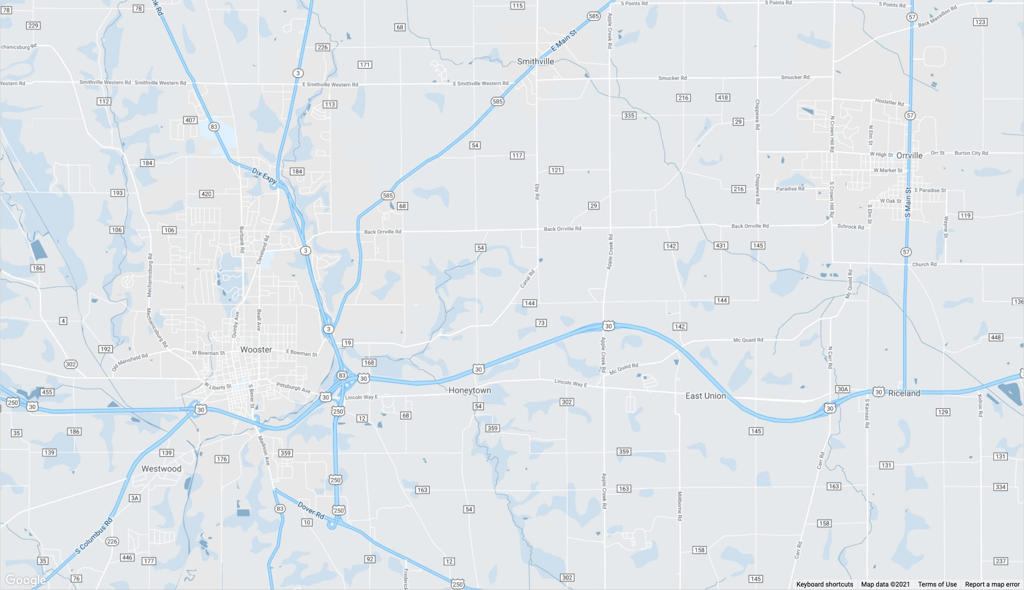Wooster and Orrville, Ohio area map