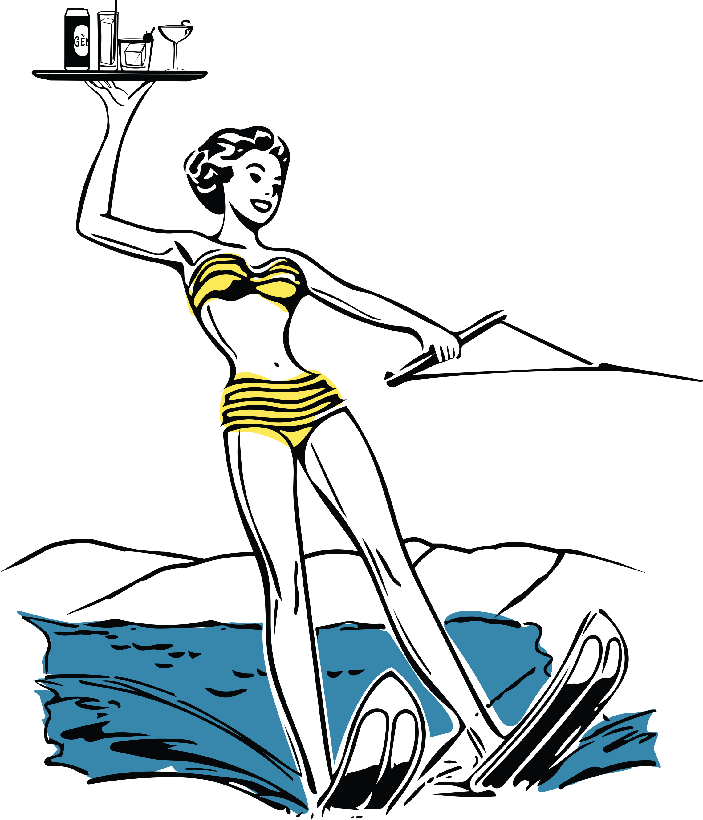 The Gem water skier illustration