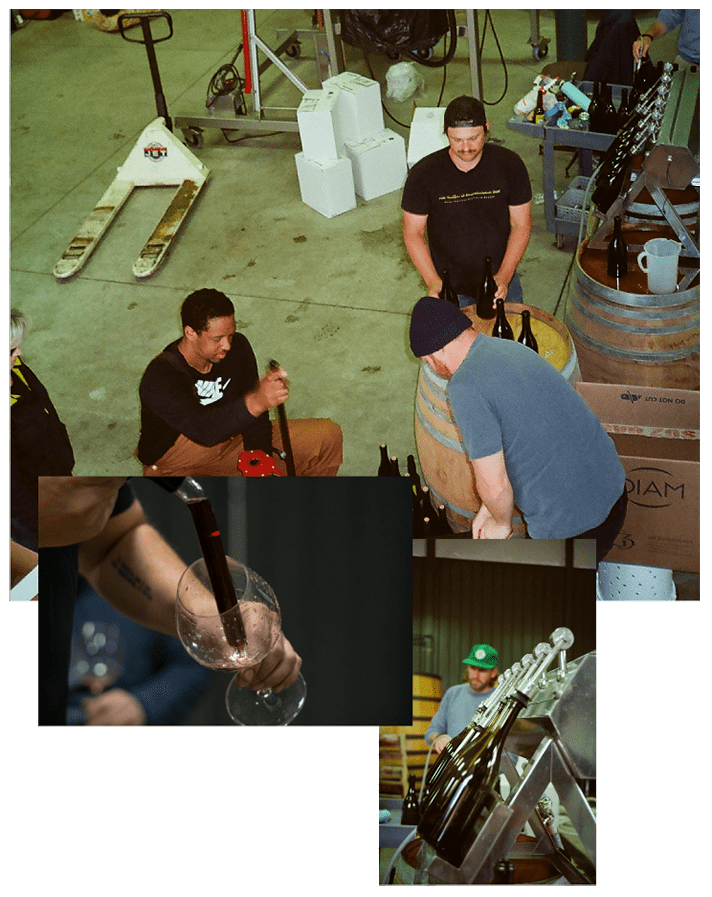 A collage of the team making wine.