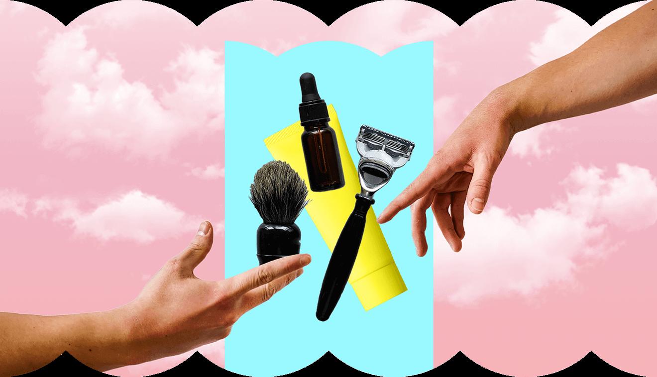 Collage zum Thema Männerkosmetik des Klarna Trendreport