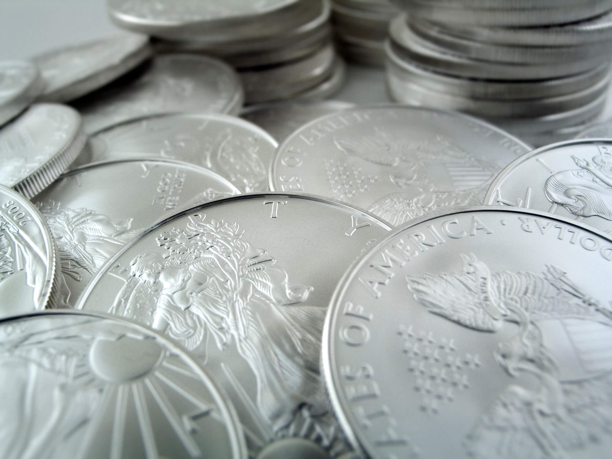 A stack of American Silver Eagle Coins in west palm beach