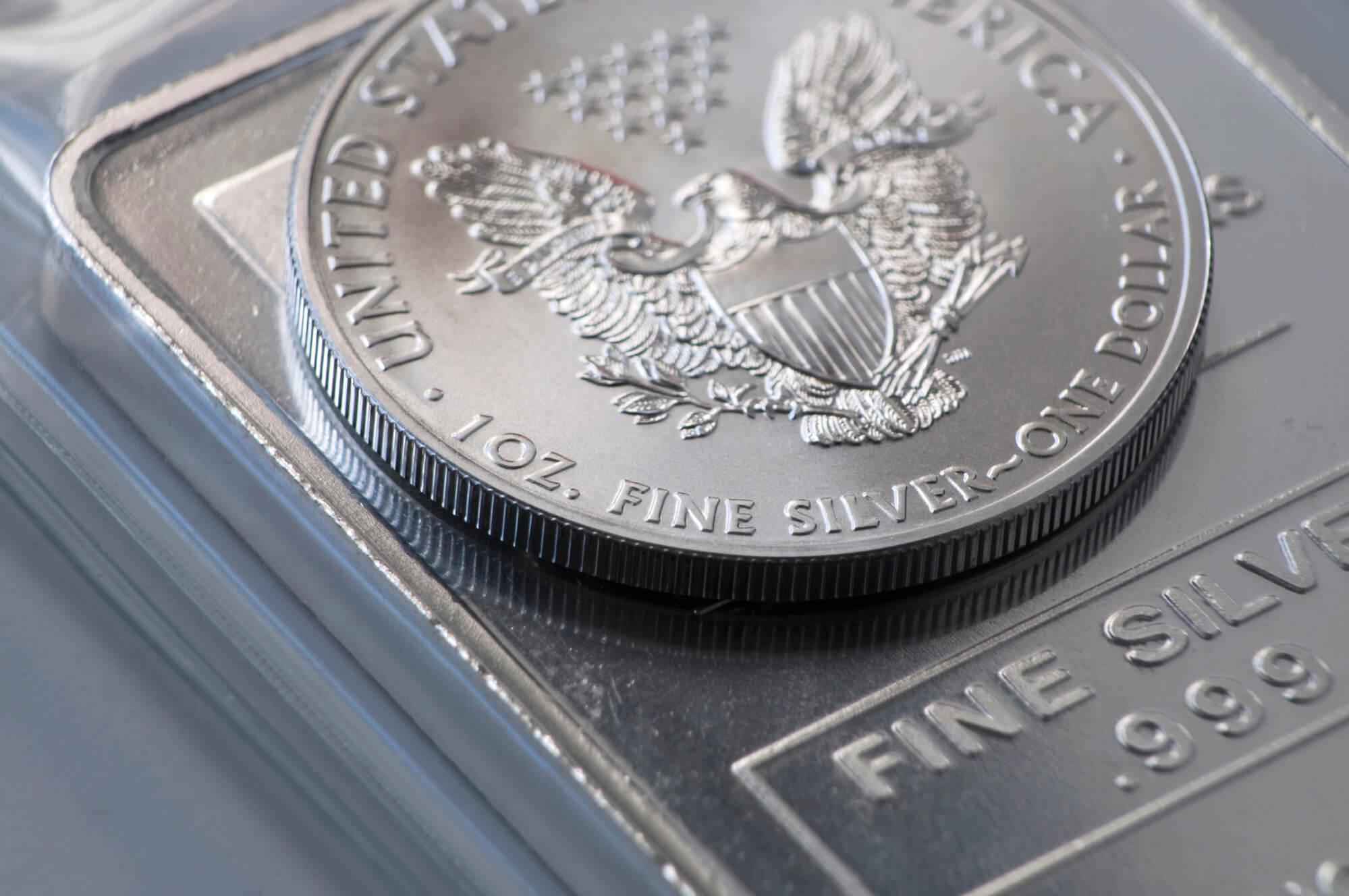 Closeup of American Silver Eagle Coins west palm beach.