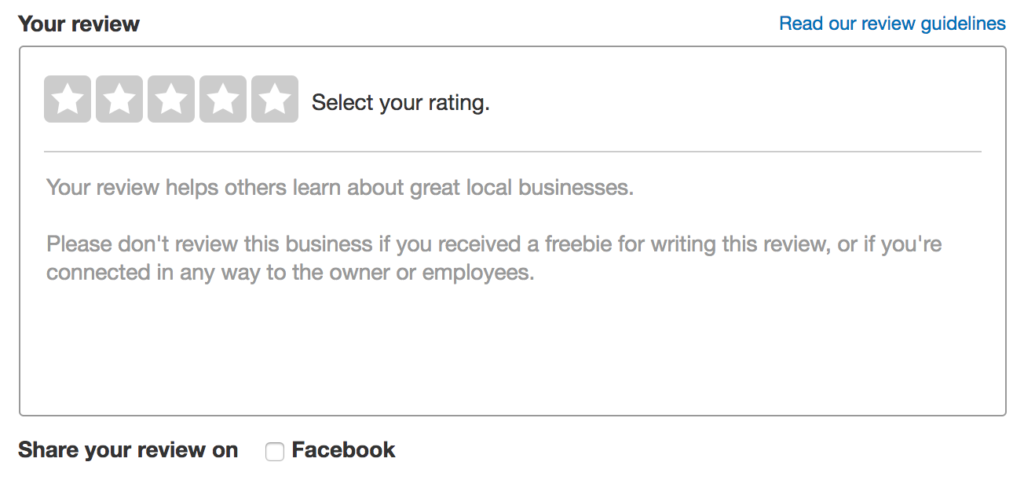 The display box for writing a review on Yelp.